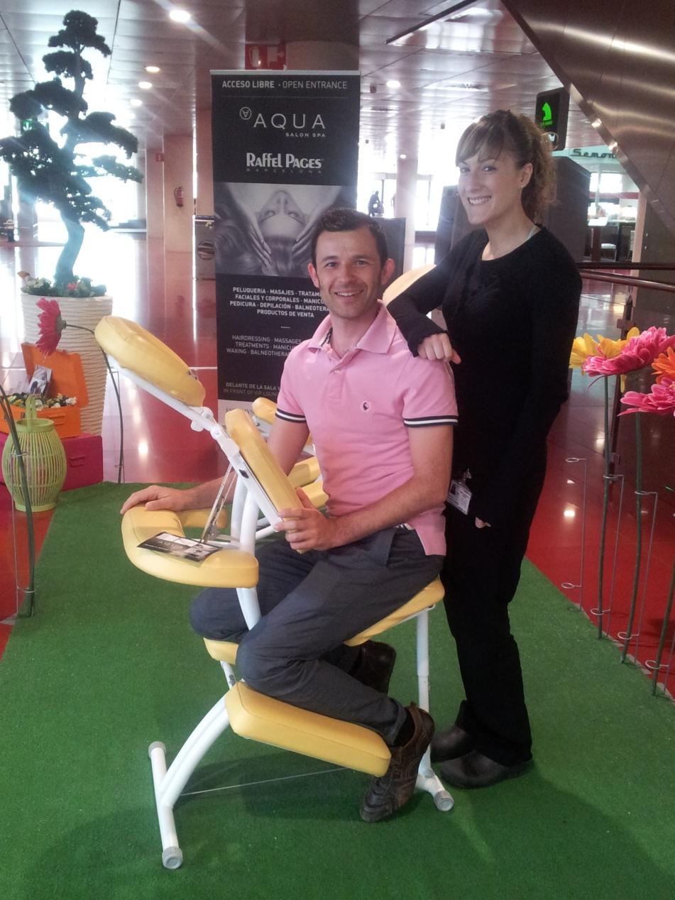 masaje sentado en aeropuerto bcn