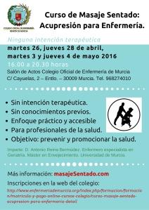 Curso de acupresión y masaje simple para Enfermería en el Colegio de Murcia