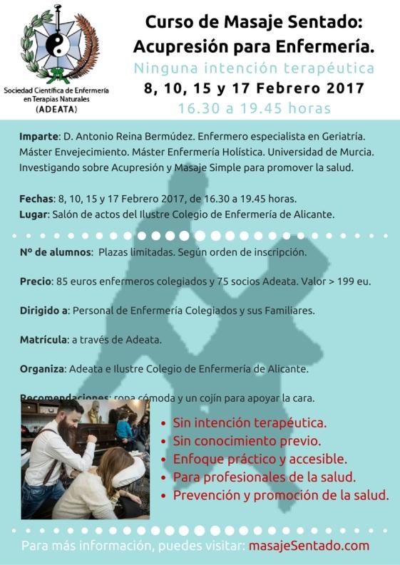 Curso de masaje sentado acupresión para Enfermeras en ADEATA Alicante 2017