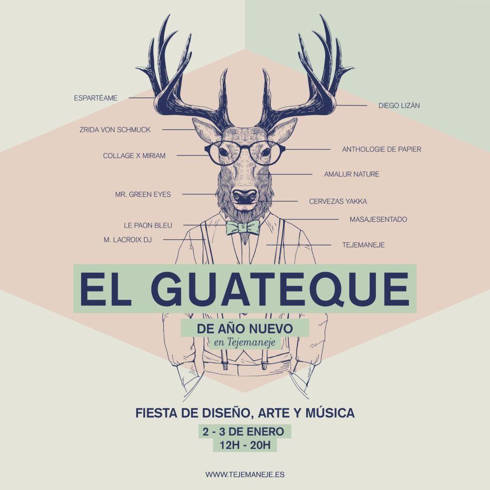 Cartel fiesta El Guapeque... masaje sentado de antonReina en Tejemaneje ;)